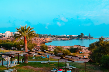 seascapes: Seascapes on the island of Cyprus. Cyprus Beach Stock Photo