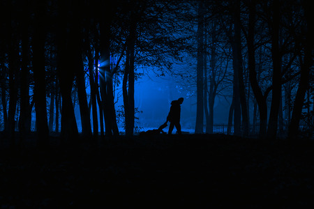 Murder in the park. Maniac drags his dead victim. Maniac kills his victim in the night deserted park. Silhouettes in night foggy forest 版權商用圖片 - 69649551