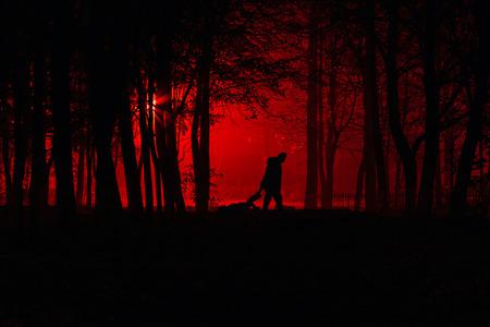 공원에서 살인. 미치광이는 그의 죽은 희생자를 끌고 간다. 미치광이가 밤에 황폐화 된 공원에서 희생자를 죽입니다. 안개가 자욱한 숲에서 실루엣