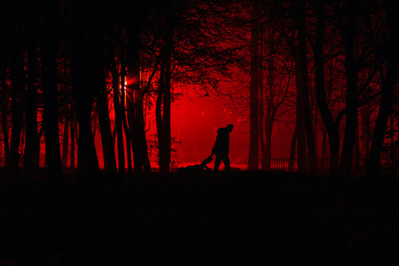 Moord in het park. Maniac sleept zijn dode slachtoffer. Maniak doodt zijn slachtoffer in de nacht verlaten park. Silhouetten in de nacht mistig bos