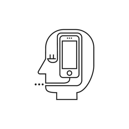 Conceptual modern icon of thin lines Man smartphone. Dependence on smartphone Illustration