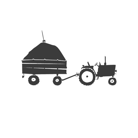 Simple fun tractor icon. Monochrome tractor with trailer on white isolated background Illustration