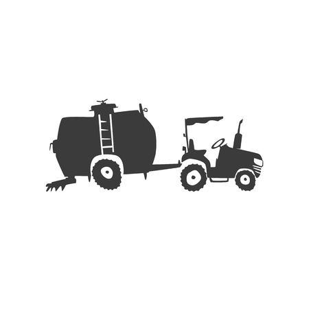 crawler tractor: Simple fun tractor icon. Monochrome tractor with a trailer tank on white isolated background Illustration