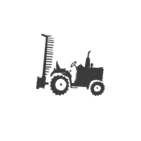 plow: Simple fun tractor icon. Monochrome tractor with outboard plow on white isolated background
