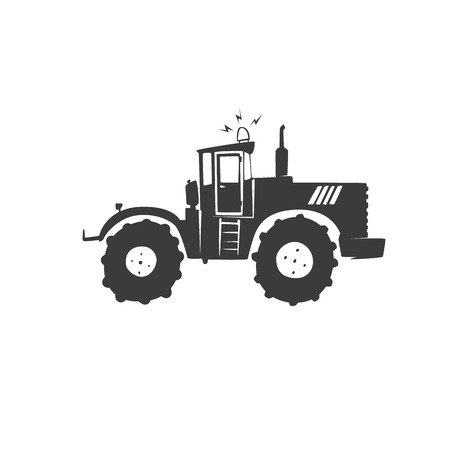 crawler tractor: Simple fun tractor icon. Monochrome tractor on white isolated background