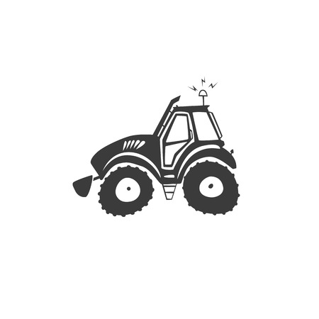 Simple fun tractor icon. Monochrome tractor on white isolated background