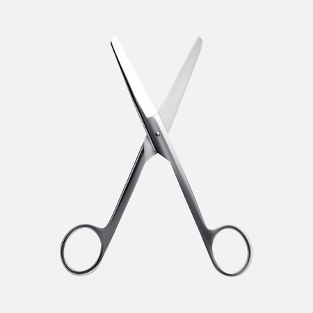 Steel scissors isolated on white background. Vector realistic illustration of scissors