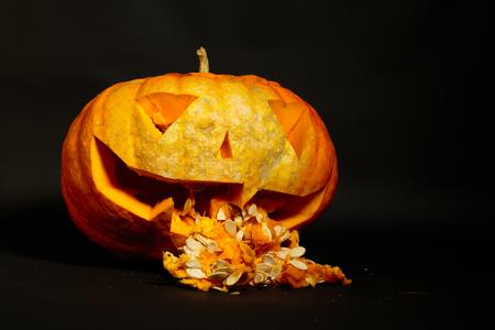 jack o lantern puked entrails big orange pumpkin on a black background