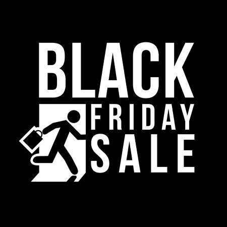 shopping sale: Black Friday sale logo Man runs to shop