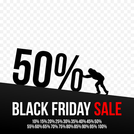 Black Friday sale design template for your business artwork. Silhouette of a man pushing discounts. transparent background Illustration