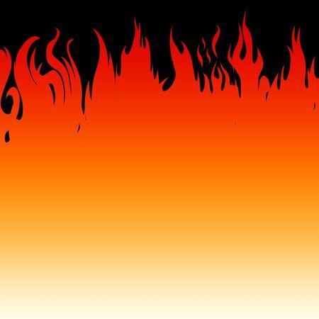 Fire flames on a black background. Vector illustration Illustration
