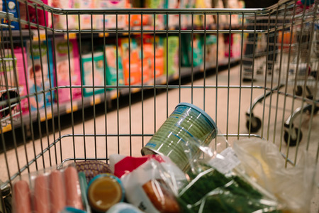 view from the shopping cart. product in the supermarket trolley