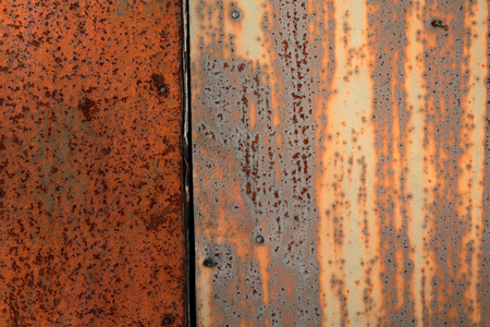 dirty sheet: Colored rusty stained metal wall texture pattern. Close up photo. Stock Photo