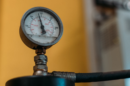 Valve of gas cylinders in a garage. Stock Photo