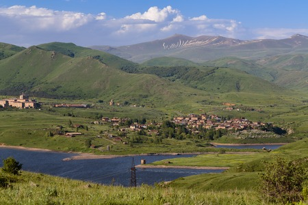 View of Kechut village and reservoir in Vayots Dzor region of the Republic of Armenia
