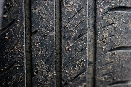 Macro tire tread Stock Photo