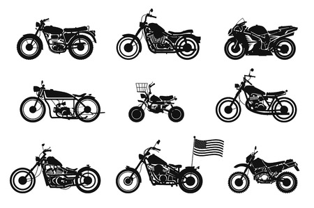 Motorcycles vector set.