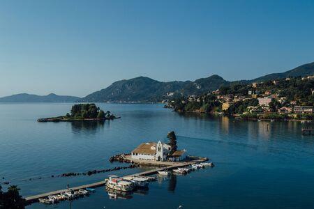 paleokastritsa: view of the city of Corfu, Greece.