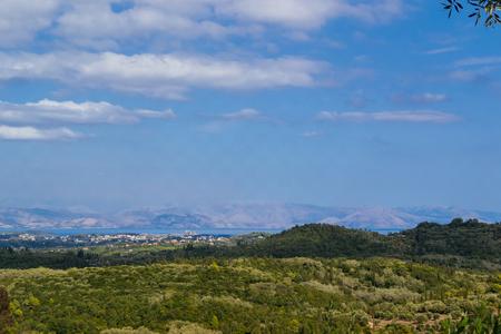 landscape green mountains Corfu, Greece