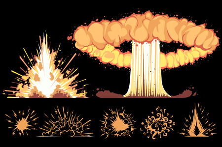 explosions on a black background Illustration