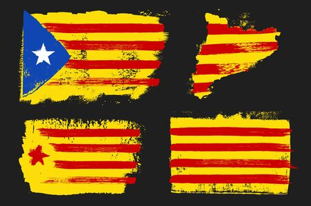 Catalonia Flags Grunge Style Illustration