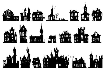 Halloween spookhuis kerk en andere gebouwen geïsoleerd op een witte achtergrond Stockfoto - 87856042