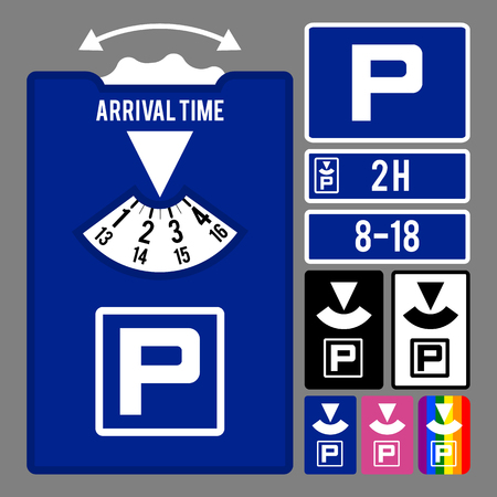 Parking clock icon. Vector set for parking time tracking. Stock Illustratie