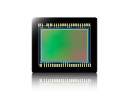 Digital camera sensor with reflection on white isolated background. Vector illustration. Çizim