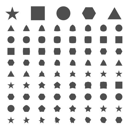 simple geometric figures of metamorphosis on white isolated background