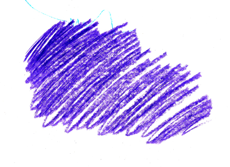 hatching scrawl with childrens wax purple pencil on white background 스톡 콘텐츠