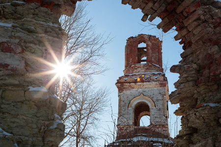 old ruined church on a sunny day Stock Photo