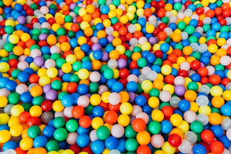lot of plastic and colored balls in a chaotic manner