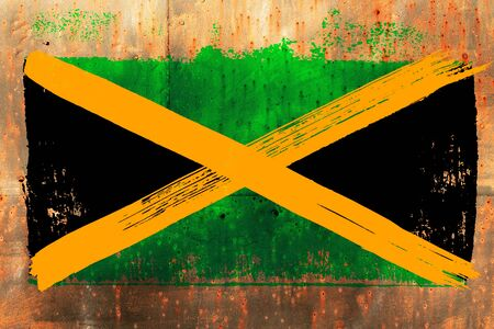 background from old Jamaican flag in grunge style