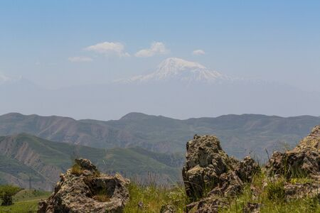 landscape of several mountains standing one after another Stok Fotoğraf
