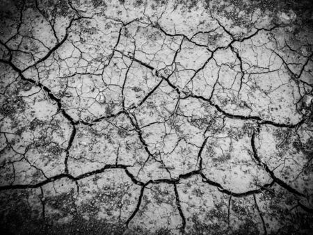 dried dehydrated cracked soil top view
