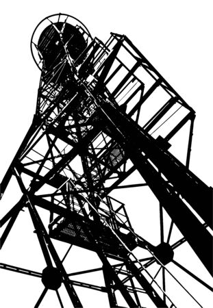 silhouette of an old sentinel tower on a white isolated background
