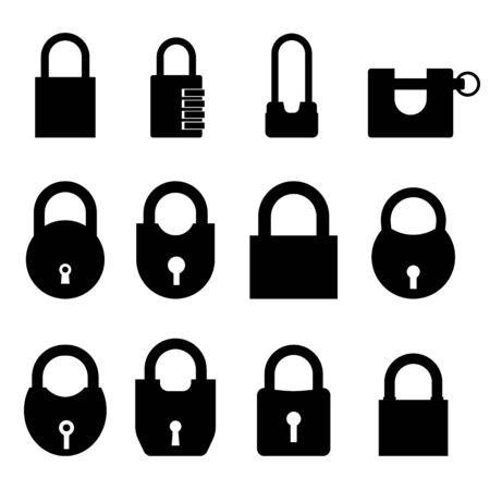 padlock vector illustration set on a white isolated background Vector Illustratie