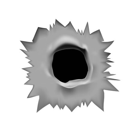 bullet hole. Vector illustration of a through hole from a bullet in a metal surface on a white isolated background