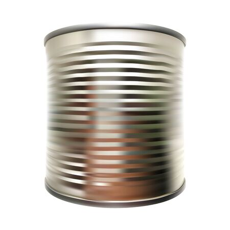 vector metal tin can on white isolated background Ilustrace