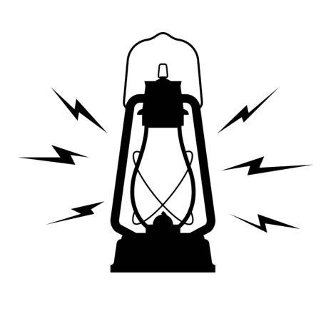 vintage kerosene lantern icon on a white isolated background.