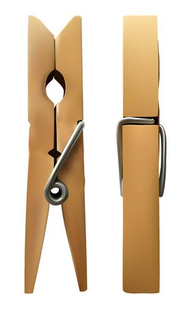 vector wooden clothespin on white isolated background. Ilustração Vetorial