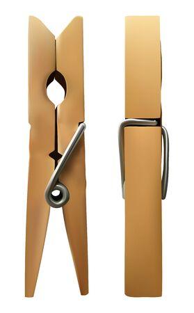 Vektor-Holz-Wäscheklammer auf weißem Hintergrund isoliert. Vektorgrafik