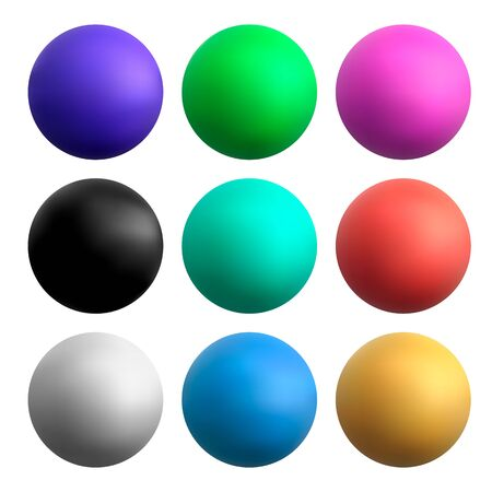 vector colored balls on a white isolated background