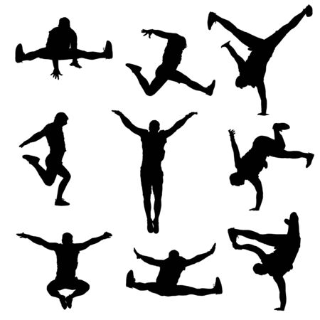 vettore, silhouette, di, uno, moderno, ballerino maschio, su, uno, bianco, isolato, bianco, background Vettoriali