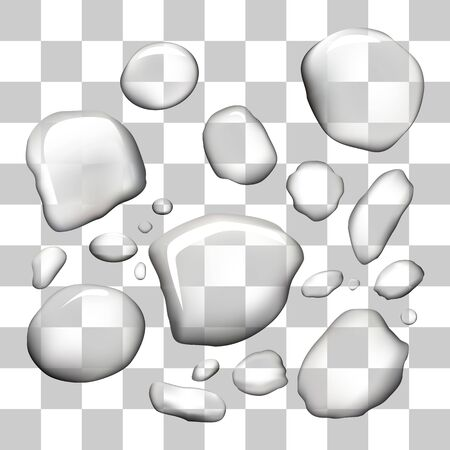 vector water drops on isolated transparent background 矢量图片