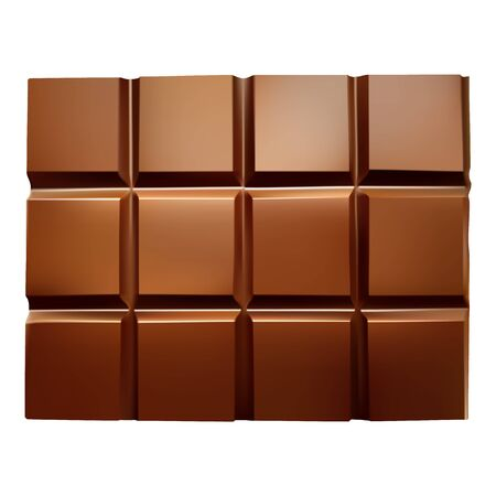 vector realistic chocolate bar on a white isolated background. Illustration