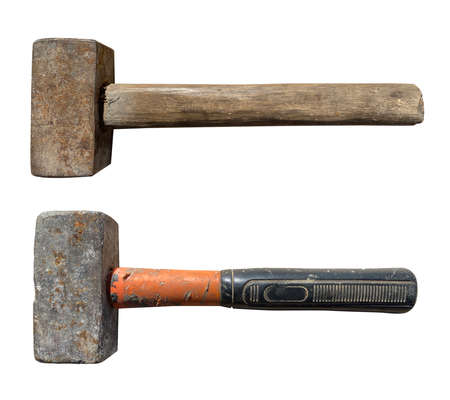 old hand sledgehammer on a white isolated background Imagens