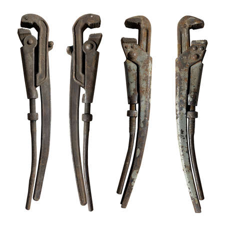 set of old adjustable pipe wrenches on a white isolated background Reklamní fotografie