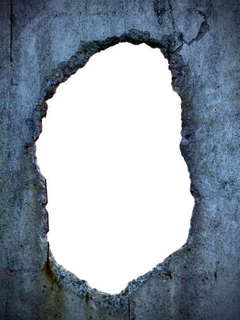 through hole in concrete wall and white isolated background