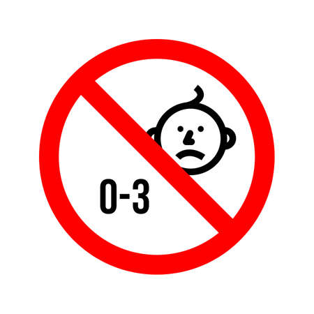 vector warning sign not suitable for children under three years old on a white isolated background